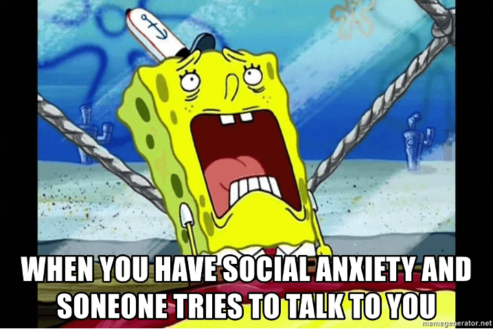 funny social anxiety spongebob