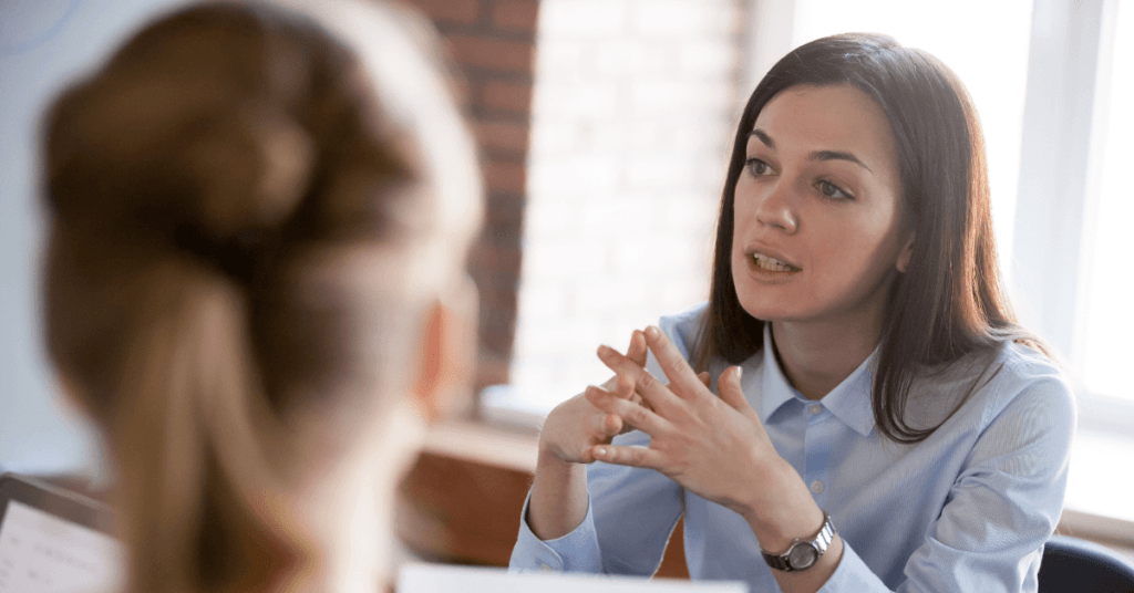 Woman being assertive in conversation